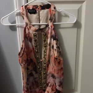 Bebe floral print orange/gold Bodysuit Small